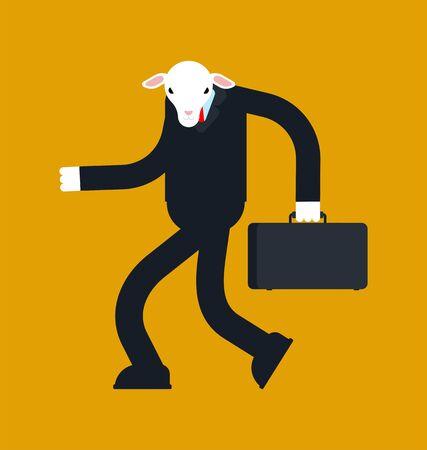 Sheep businessman isolated. Boss ewe. Business illustration