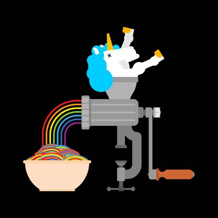 Unicorn in meat grinder rainbow minced meat