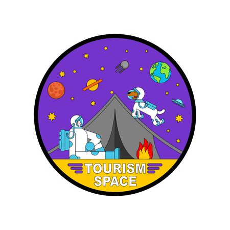 Space tourism icon. Cosmic camping sign. Astronaut and tent. spaceman resting