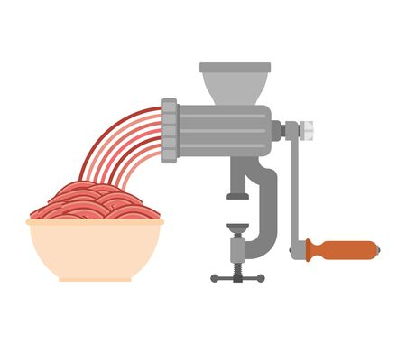 Meat grinder and minced meat.
