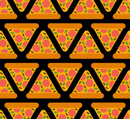 Pizza cartoon pattern seamless. Fast food background.