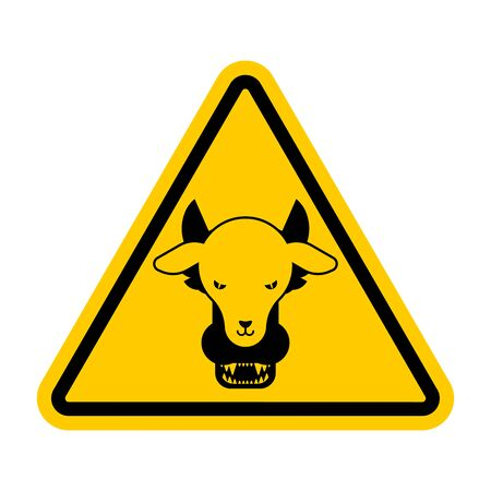 Attention Wolf in sheeps clothing. Warning yellow road sign. Caution Hypocrite. Danger Trickster and liar