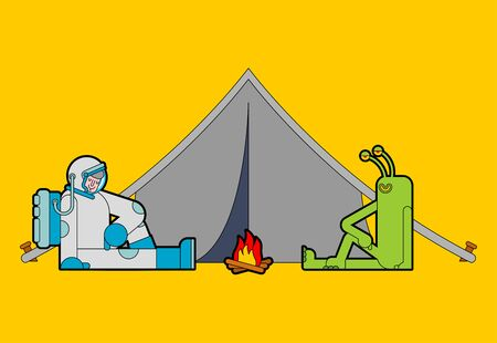 Astronaut and alien on picnic. Spaceman and green Space Invader on camping.