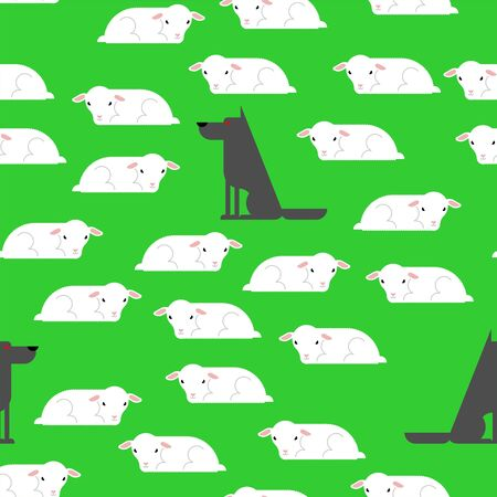 Wolf and sheep pattern seamless. Stock Illustratie