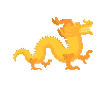 Gold Chinese dragon pixel art. Golden japanese mythical monster. National folk beast. vector illustration Иллюстрация