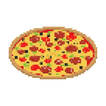 Pizza pixel art isolated. 8 bit Fast food vector illustration