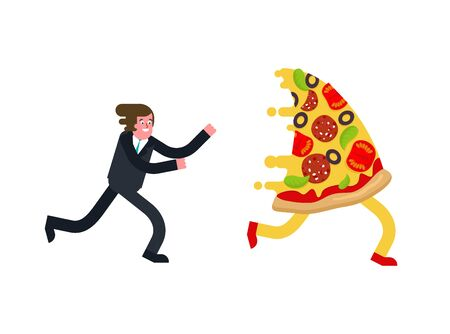 Man runs for pizza isolated. Hunger vector illustration