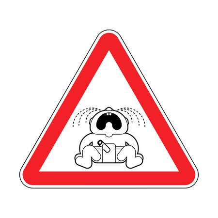 Attention Crying baby. Warning red road sign. Caution Childrens tantrum