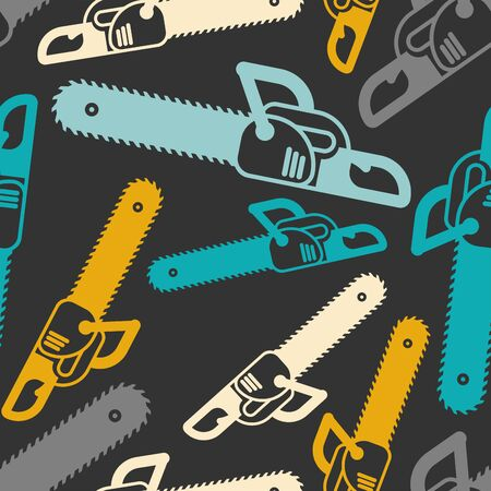 Chainsaw pattern seamless. lumberjack Tool background. vector ornament