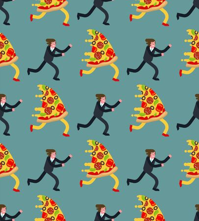 Man runs for pizza pattern seamless. Hunger vector background