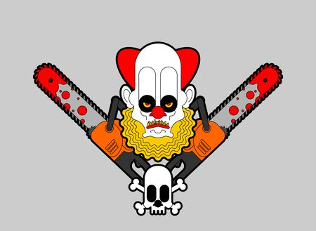 Clown and Chainsaws sign. Tool woodcutter vector illustration