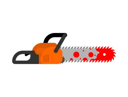 Chainsaw and blood. Murder Tool vector illustration Иллюстрация