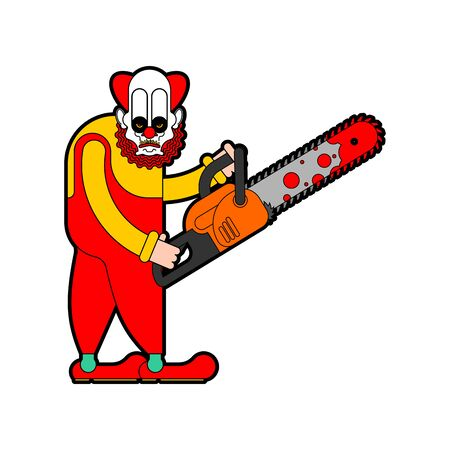 Clown and Chainsaws isolated. Horror Halloween vector illustration