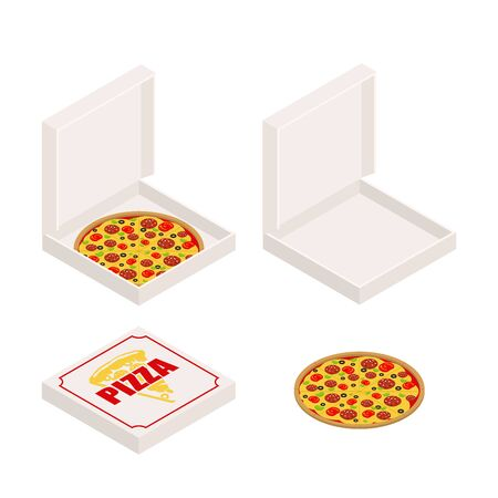 Pizza and box set. Closed and open box. Fast food Vector illustration Ilustracja