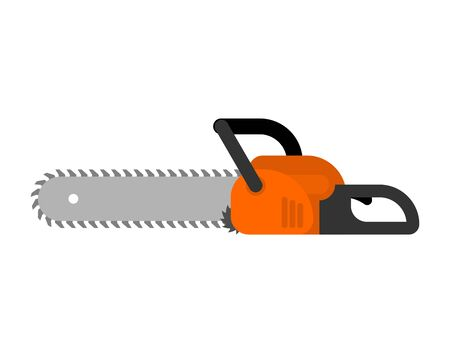 Chainsaw isolated flat. lumberjack Tool vector illustration