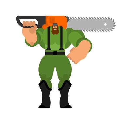 Lumberjack with chainsaw isolated. woodcutter vector illustration