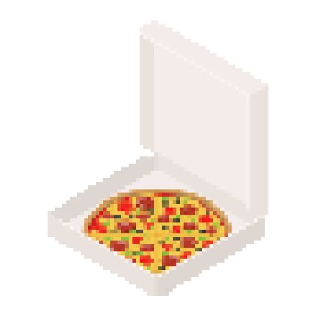 Pizza in box open pixel art. 8 bit Fastfood vector illustration Zdjęcie Seryjne - 133299199