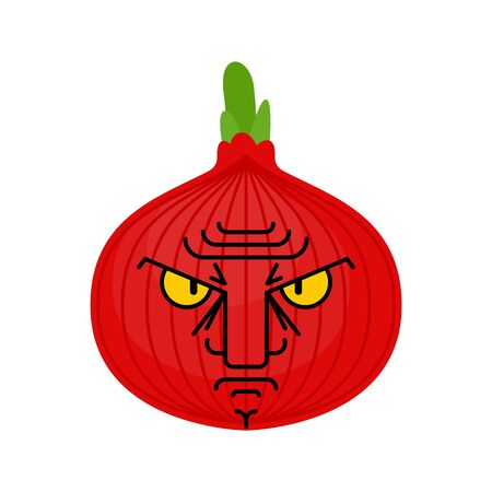 Angry onion isolated. evil vegetable. vector illustration Иллюстрация