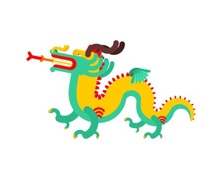 Chinese dragon isolated. China mythical monster. National folk beast. vector illustration