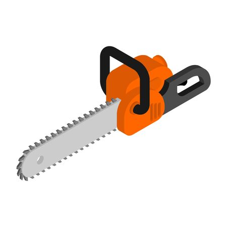 Chainsaw isometric isolated. lumberjack Tool vector illustration