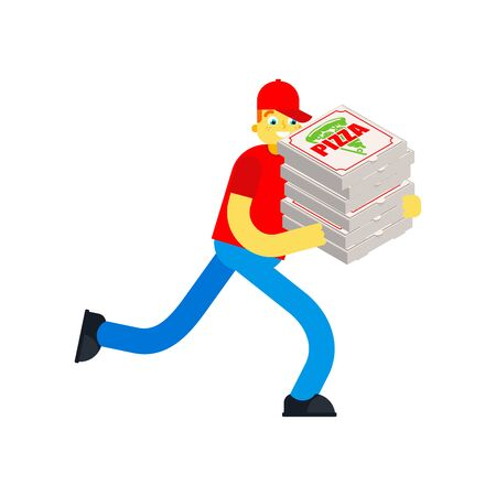 Pizza delivery run isolated. Man runs with pizza box. vector illustration