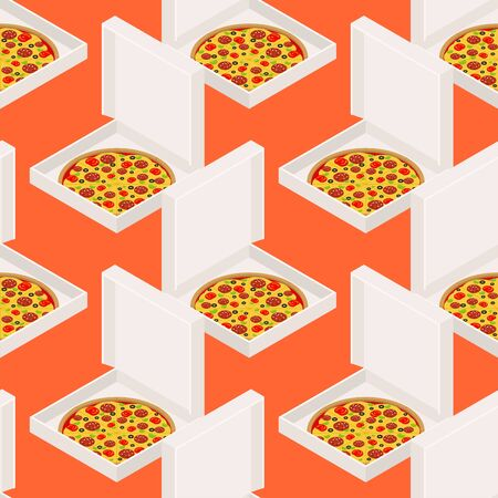 Pizza and box pattern seamless. Fast food background. Vector ornament Иллюстрация