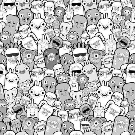 Doodle monster pattern seamless. Cartoon character background. vector texture