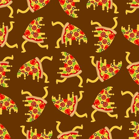 Pizza run pattern seamless. slice of pizza running background Иллюстрация