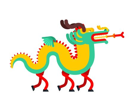 People in Chinese Dragon costume. China Holiday mythical monster mask . National folk beast. vector illustration