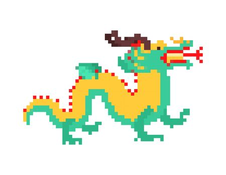 Chinese dragon pixel art. China mythical monster 8 bit. National folk beast. vector illustration