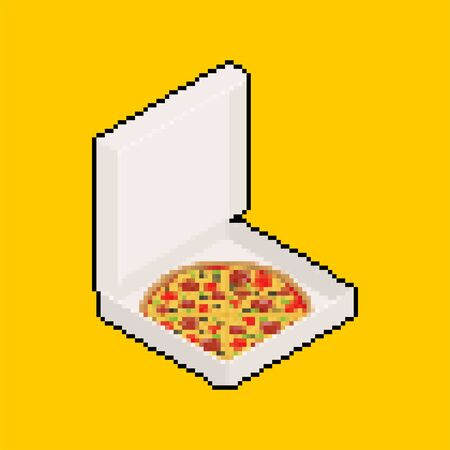 Pizza in box open pixel art. 8 bit Fastfood vector illustration Иллюстрация
