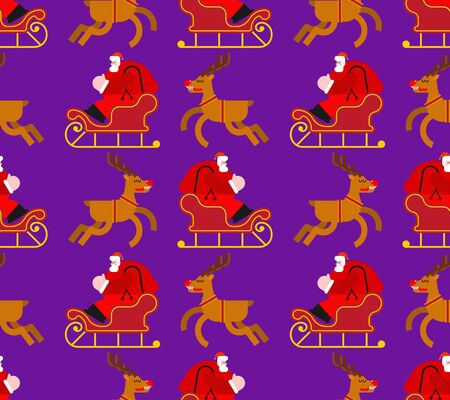 Santa in sleigh with deers pattern seamless. Christmas background. New Year Vector texture Иллюстрация