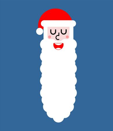 Santa with long beard isolated. Christmas and New Year Vector Illustration