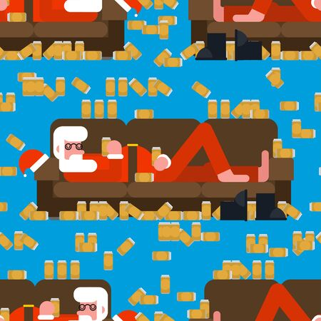 Drunk Santa sleeping on couch pattern seamless. Alcohol for the new year background . Festive party ornament Illusztráció