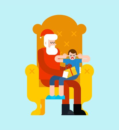 Santa Claus and crying little boy. Sanat on armchair. Christmas and New Year vector illustration