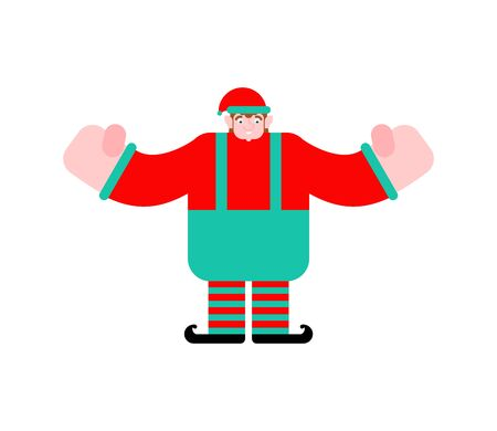 Elf Santa isolated. Little Christmas Helper. Xmas and New Year Vector Illustration
