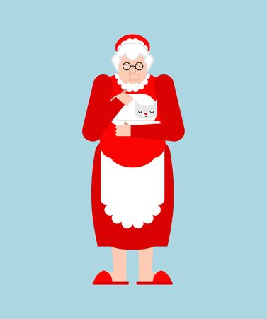 Mrs. Claus isolated. Christmas and New Vector illustration
