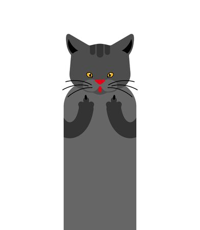 Cat fuck isolated. Pet Rude gesture. vector illustration animal Иллюстрация