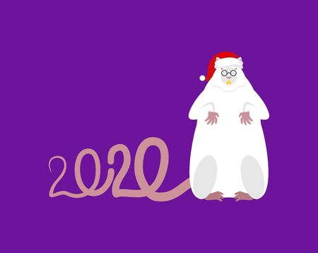 Santa Mouse Symbol of 2020 year. Rat in red cap. Christmas and New Year Vector Illustration