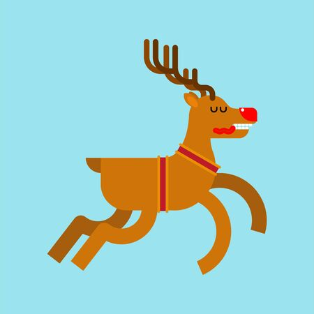 Santa deer cartoon isolated. Christmas and New Year Vector Illustration