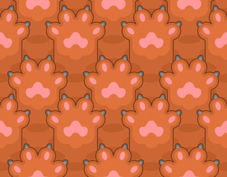 Cat foot pattern seamless. Pet paw background. vector texture