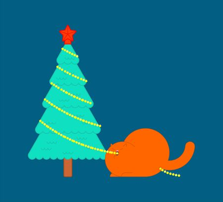 Cat eats garland on Christmas tree. Xmas and New Year vector illustration