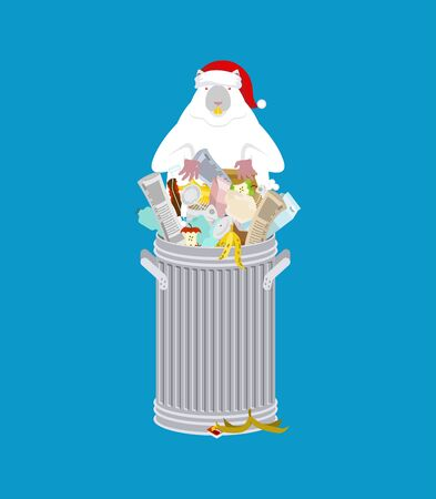 Santa Mouse in garbage can. Symbol of 2020 year. Rat in red cap. Christmas and New Year Vector Illustration
