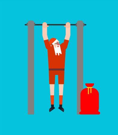 Santa on horizontal bar. Pull up granddad street workout. Old man Sport. Xmas Fitness for seniors. Christmas and New Year vector illustration
