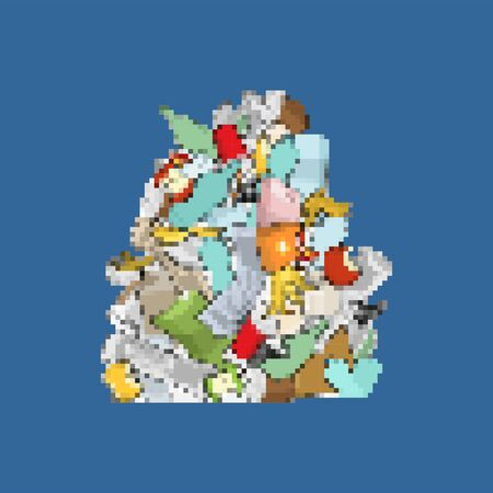 Garbage pixel art. 8bit Pile Rubbish. Stack trash. litter background. peel from banana and stub. Tin and old newspaper. Bone and packaging. Crumpled paper and plastic bottle