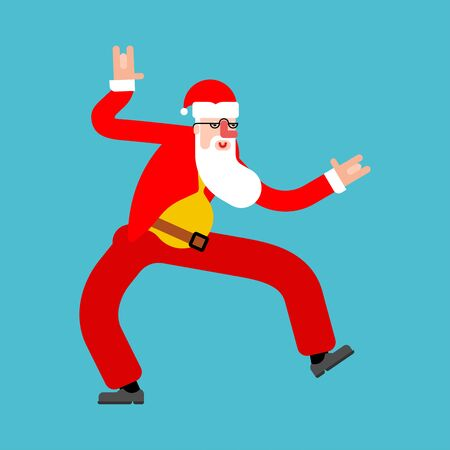 Dancing Santa isolated. Grandfather dancer. Christmas and New Year Vector Illustration