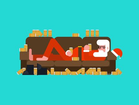 Drunk Santa sleeping on couch. Alcohol for the new year. Festive party   Иллюстрация