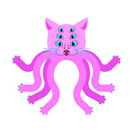 Cat Octopus monster. Ufo pet With Tentacles.