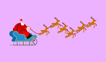 Santa in sleigh with deers. Christmas and New Year Vector Illustration