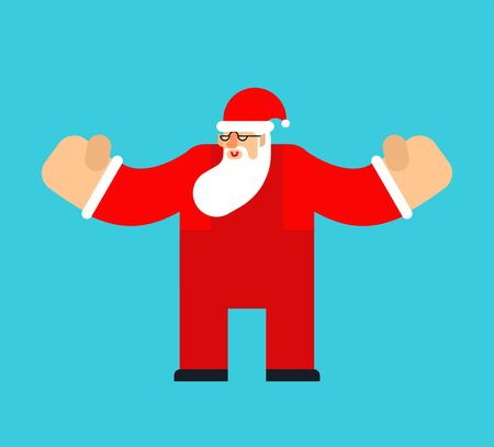 Santa Claus in motion isolated. Christmas and New Year Vector Illustration